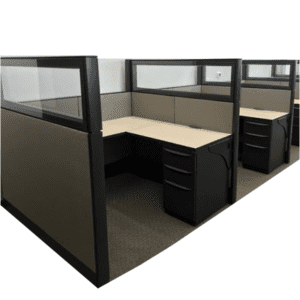 """Used Haworth Premise Workstations with Glass Tops - 5'x5'x58""""H"""