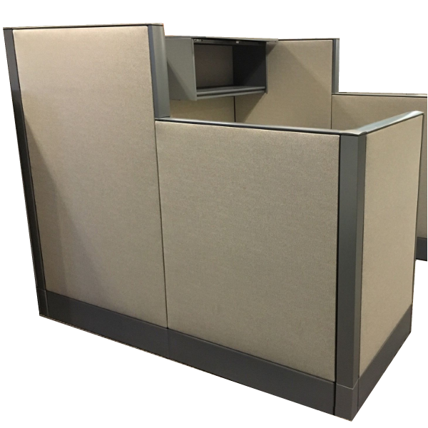 """Haworth 6x6 Cubicle with 48"""" & 64""""H Monolithic Acoustical Fabric Walls"""