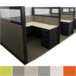 Haworth Refurbished Modular Systems Furniture with Fabric Walls and Glass