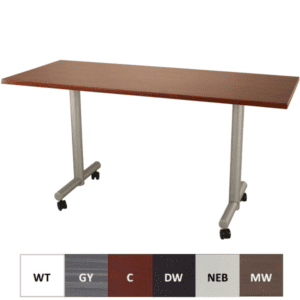 Mobile T-Leg Training Table with Silver Base