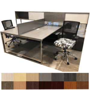 """Indiana Two Person Team Station with 12""""H High Gloss Acrylic Divider and Storage Hutches"""