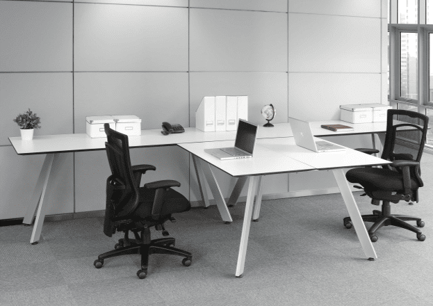 PL V-Leg Bevel Edge 2-Person Team Desk
