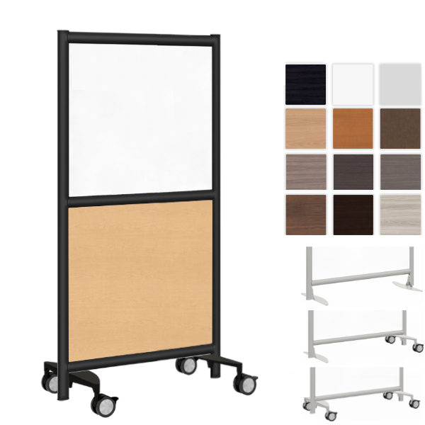 """24""""W Mobile Freestanding Acrylic and Laminate Room Partition - AW Office Furniture"""