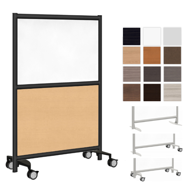 """37""""W Two Core Room Divider - AW Office Furniture - Mobile Wall Solutions"""