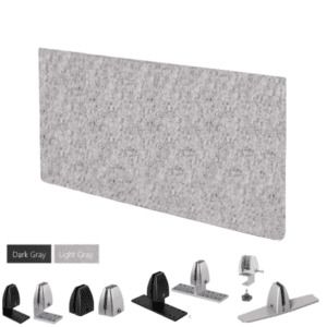 """PET Acoustic Desk Panel in Light Gray Material - 15""""H x 24"""" - 36""""W"""