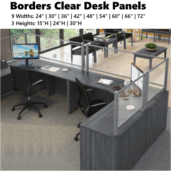 """Borders Clear Desk Panels with 3"""" Tuck Under Spacing"""