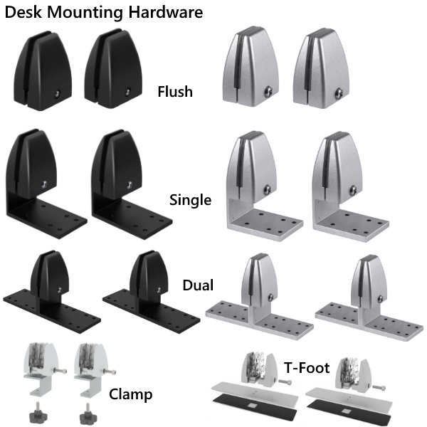 Permanent and Removable Desk Mounting Brackets Hardware