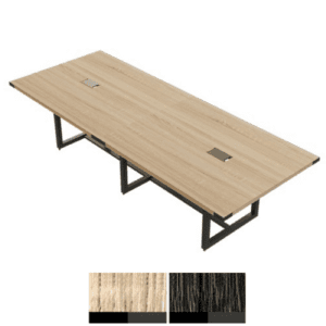 """120"""" Conference Table with Rectangular Top - Black Steel Base"""