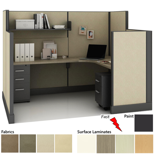 System 2 Quick Production Cubicle in 4 Fabrics and Laminate Finishes