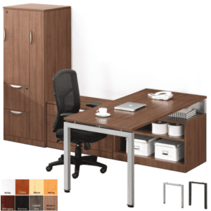 L-Shaped Benching Workstation with Personal Storage File Tower