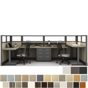 2 Person Height Adjustable Set of Workstations with glass walls