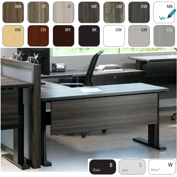 Height Adjustable Powered Desks with Modesty Panels