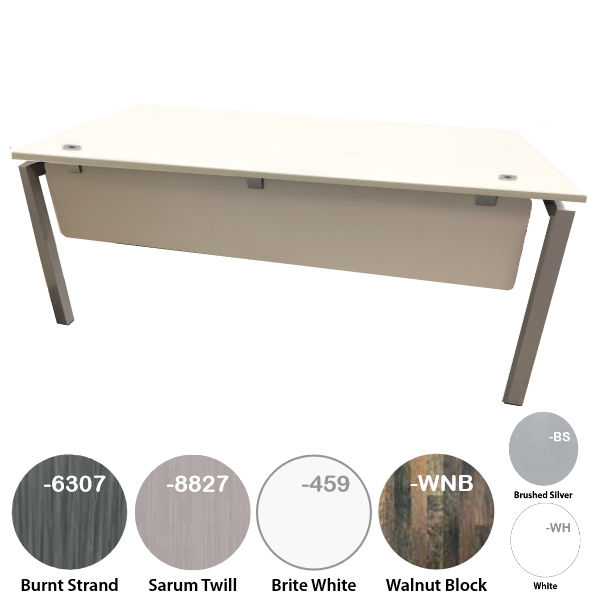 White Surface Desk with Steel Leg Base