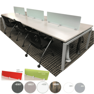 15' Modular Desk Workstations - Frosted Acrylic Screens