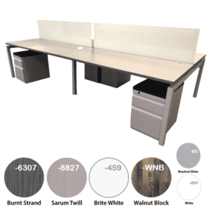Modular Open Desk with Mobile Storage and Writable Glass Screens