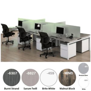6-Person Modular Workstation with Glass
