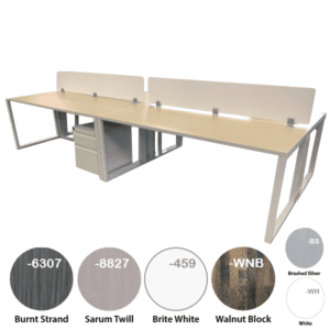 12' 4-Person Workstation with Top Mount Acrylic Screens