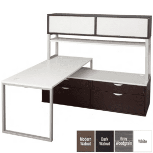 Lair Low File Bench L-Desk with Door Hutch in 3 colors