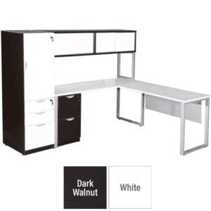 Lair Dark Walnut and White L-Shaped Workstation and Door Hutch with Storage Tower