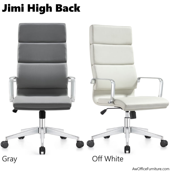 Jimi High Back Poly Leather Office Chairs - Gray and Off White
