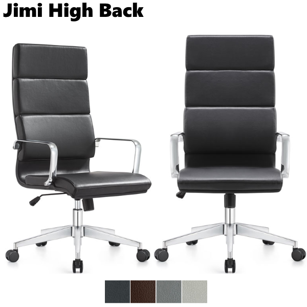 Jimi High Back Executive Chairs - Black Leather