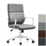 Gray Leather Mid Back Exec Chair - PU Leather