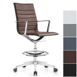 Chestnut Brown Leather Drafting Stool
