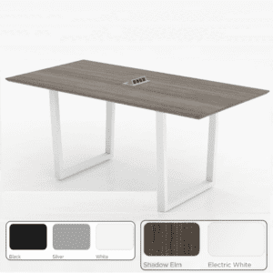 Powered Conference Table - Angled Sleigh Legs