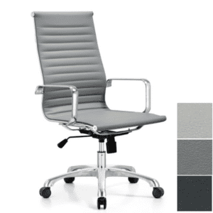 Classic Ribbed Contemporary Executive Chair - Eco Gray Leather