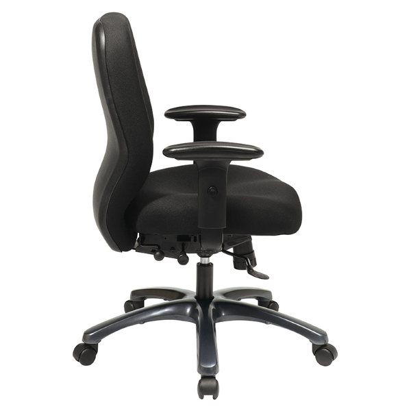 Values 54666 Black Fabric Office Task Chair - Side