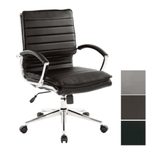 Ribbed Leather Office Chair in Chrome Frame - Modern Seating