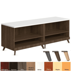 Open Storage Bench - Tapered Wooden Legs